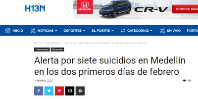Alerta por siete suicidios en Medellín en los dos primeros días de febrero