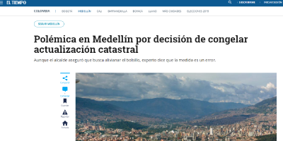Polémica en Medellín por decisión de congelar actualización catastral